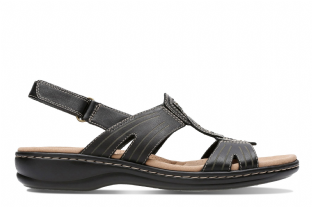 Clarks Womens Leisa Vine Black Leather Wedge Sandals